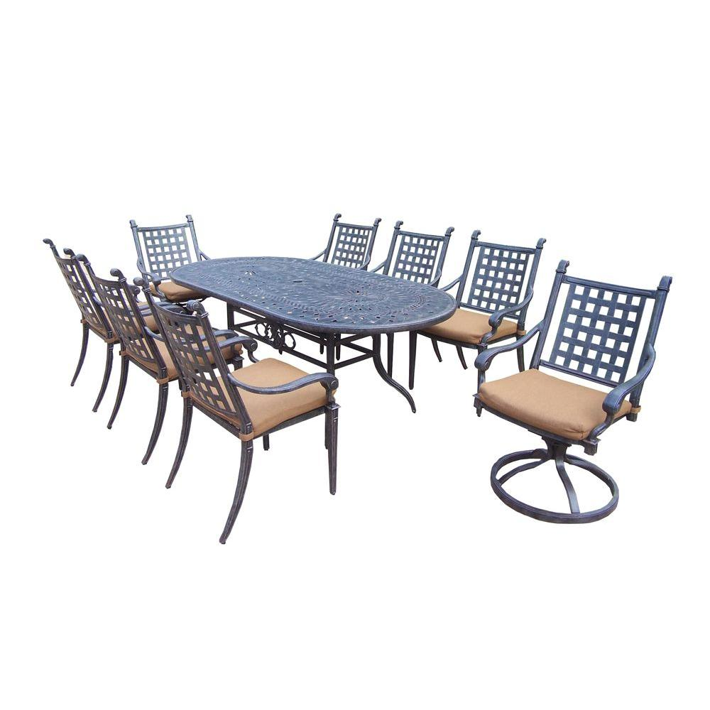 Oakland Living Belmont 9 Piece Patio Dining Set With Sunbrella Cushions