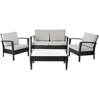 Piscataway Black 4-Piece Wicker Patio Seating Set with Gray Cushions