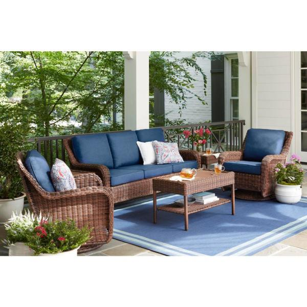 Hampton Bay Cambridge Brown Wicker Outdoor Patio Sofa With Cushionguard Midnight Navy Blue Cushions 65 17148bs The Home Depot