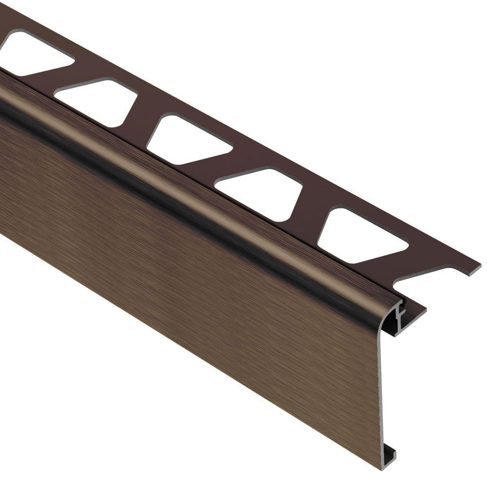Schluter Rondec-Step Brushed Antique Bronze Anodized Aluminum 3/8 in. x 8 ft. 2-1/2 in. Metal Tile Edging Trim