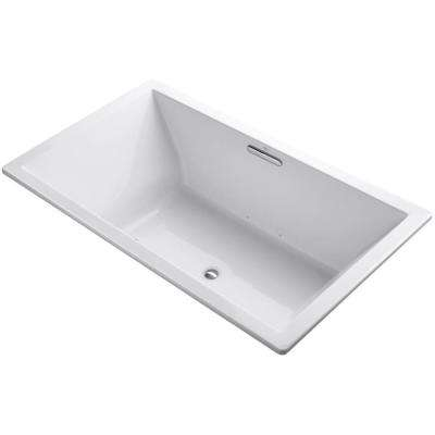 Underscore 6 ft. Center Drain Rectangular Drop-in Air Bath Tub in White