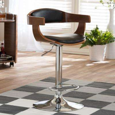 Garr Brown Wood and Black Faux Leather Adjustable Bar Stool