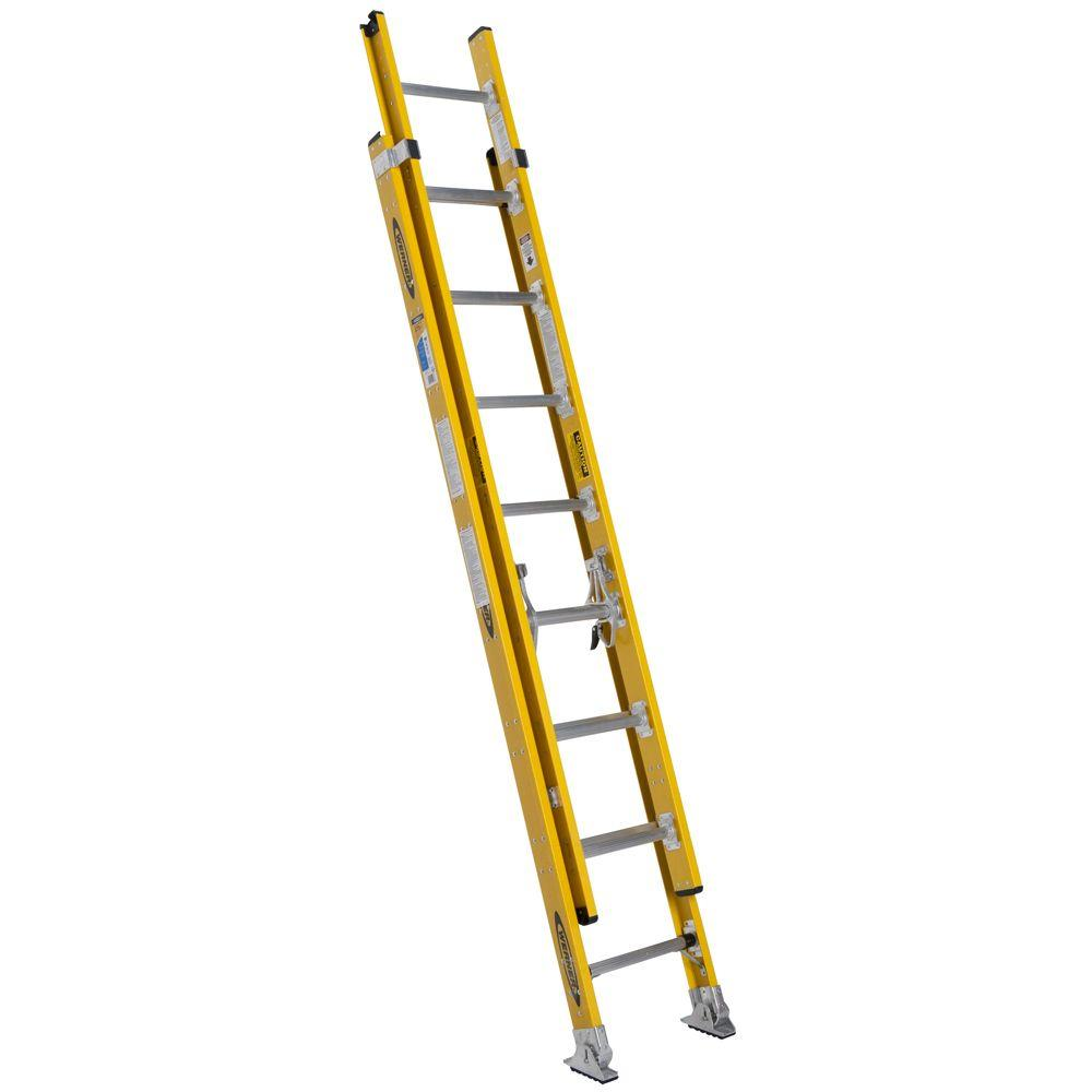 Werner 16 ft. Fiberglass Round Rung Extension Ladder with...