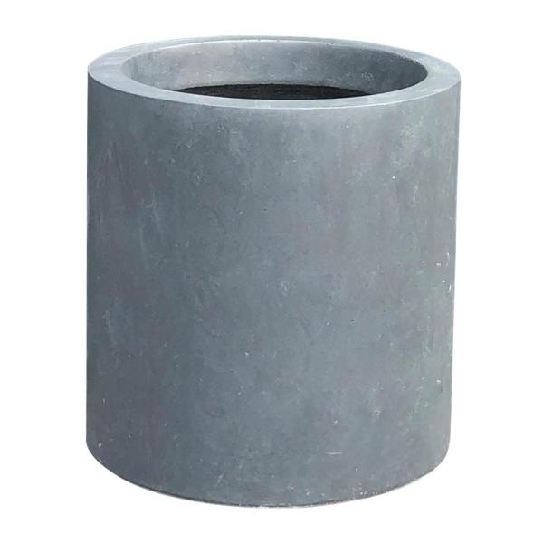 9.8 in. Tall Charcoal Lightweight Concrete Outdoor Modern Cylindrical Planter