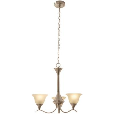 Santa Rita 3-Light Brushed Nickel Chandelier with Glass Shades