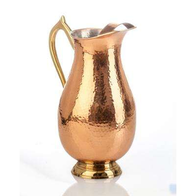 Element Collection Hammered Copper Pitcher with Brass Handle