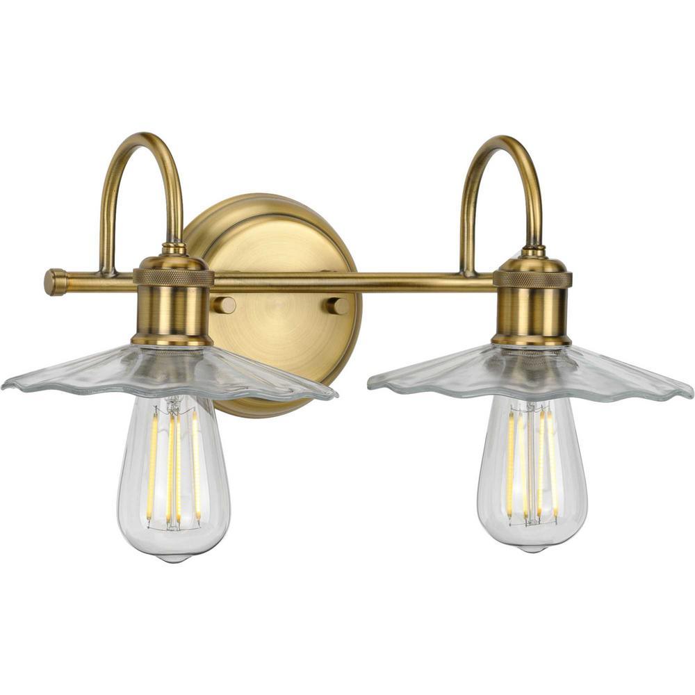 progress lighting fayette 2-light vintage brass bath light