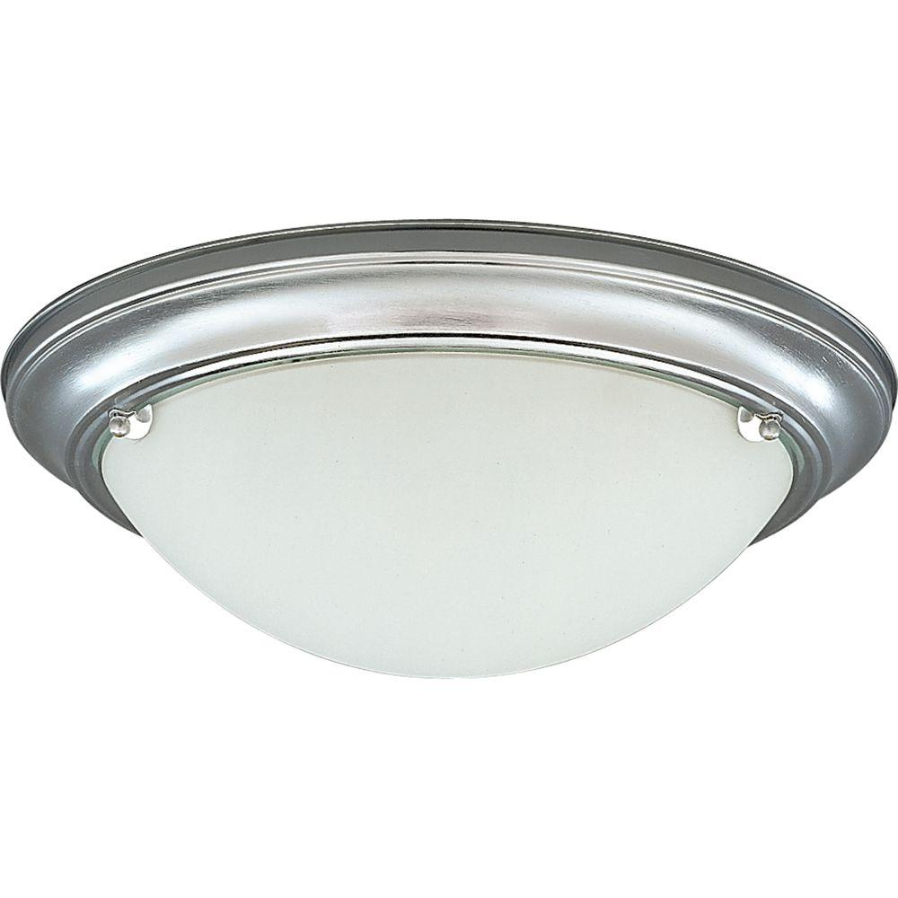 Progress Lighting Eclipse Collection 2-Light Brushed Steel Flush Mount