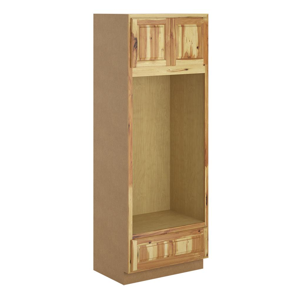 Hampton Bay Madison Assembled 33x90x24 In Pantry Utility Double Oven Cabinet In Hickory Pdo3390