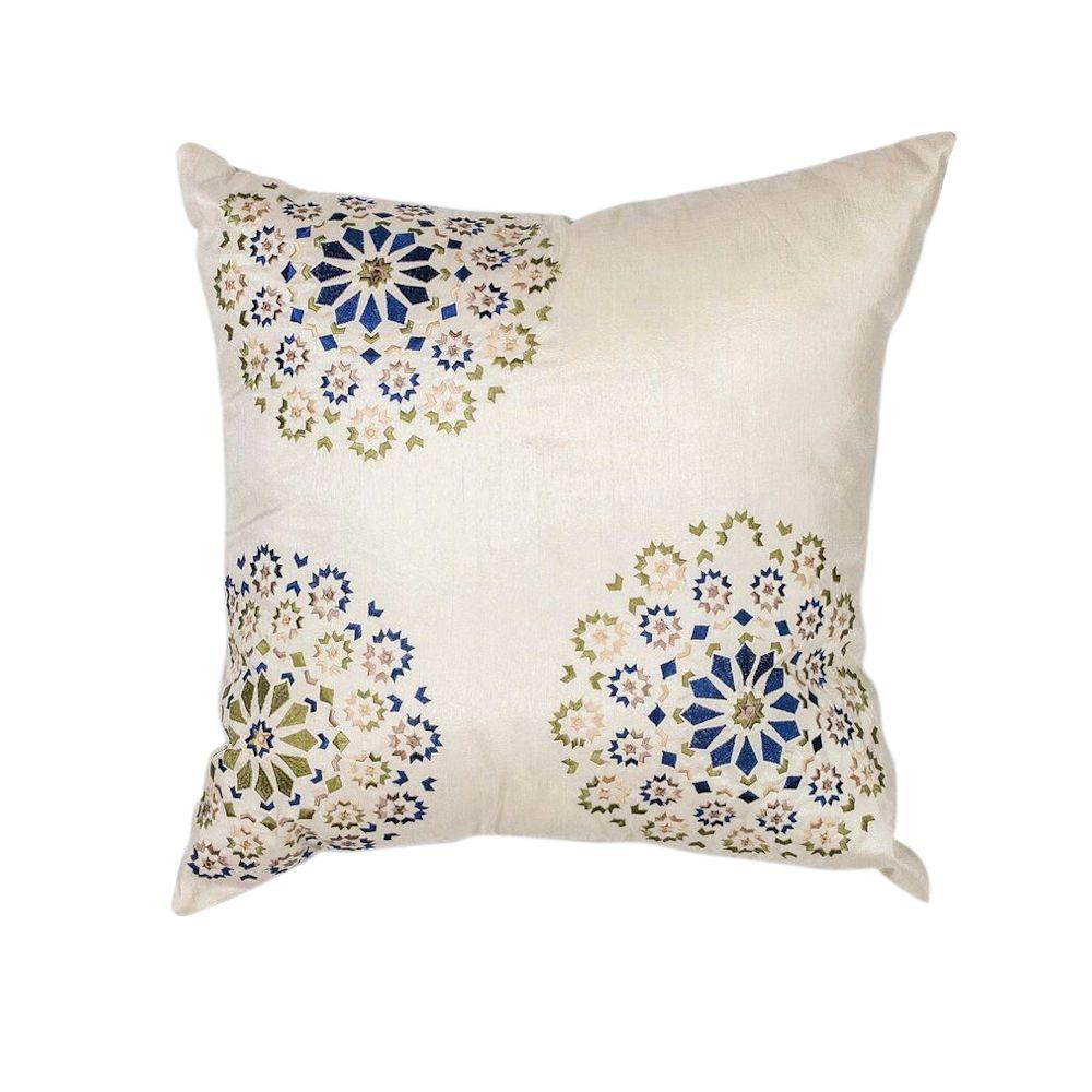 Elegance Ivory/Blue Decorative Pillow