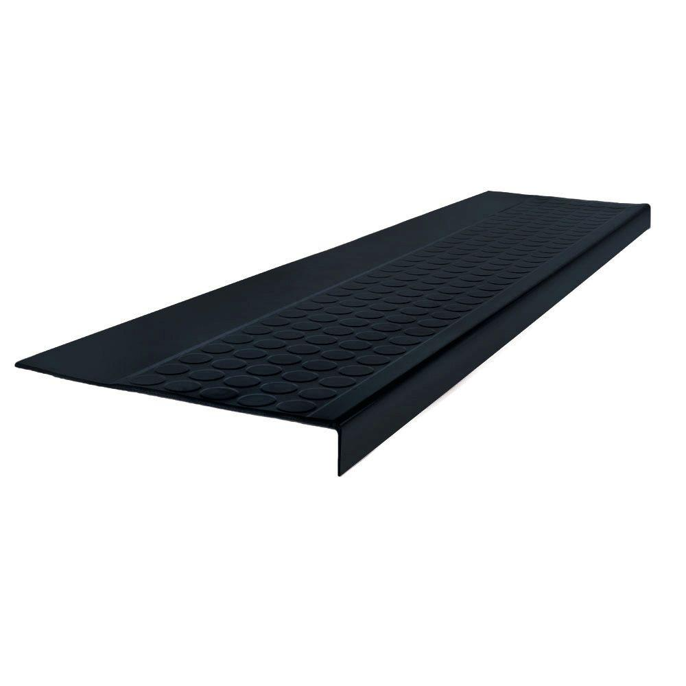 ROPPE Low Circular Profile Black 12.5 in. x 60 in. Rubber Square Nose Stair Tread