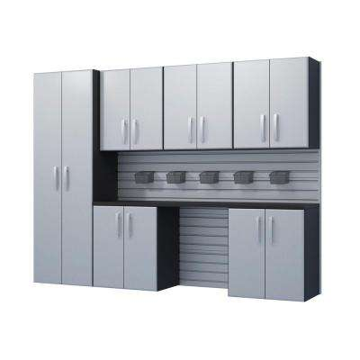 Modular Wall Mounted Garage Cabinet Storage Set with Additional Storage Bins in Silver (7-Piece)