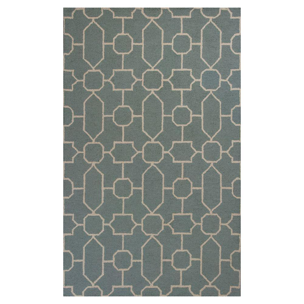 Kas Rugs Perfectly Graphic Slate/Blue 3 ft. 3 in. x 5 ft. 3 in. Area Rug