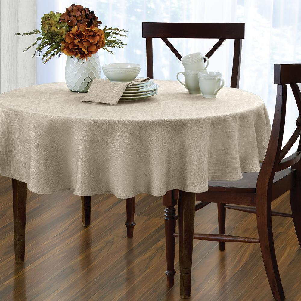 Round Ivory Elrene Pennington Damask Fabric Tablecloth