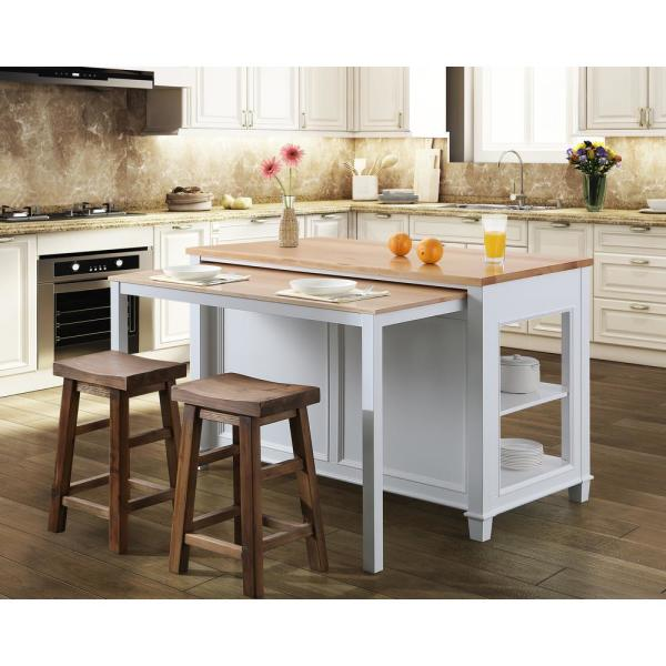 Design Element Medley White Kitchen Island with Slide Out Table KD-01-W