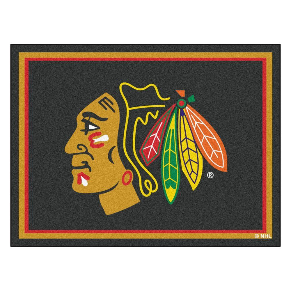FANMATS NHL Chicago Blackhawks 3 Ft Area RUG3 Ft Black x 5 Ft Area Rug x 5 Ft 3 x 5