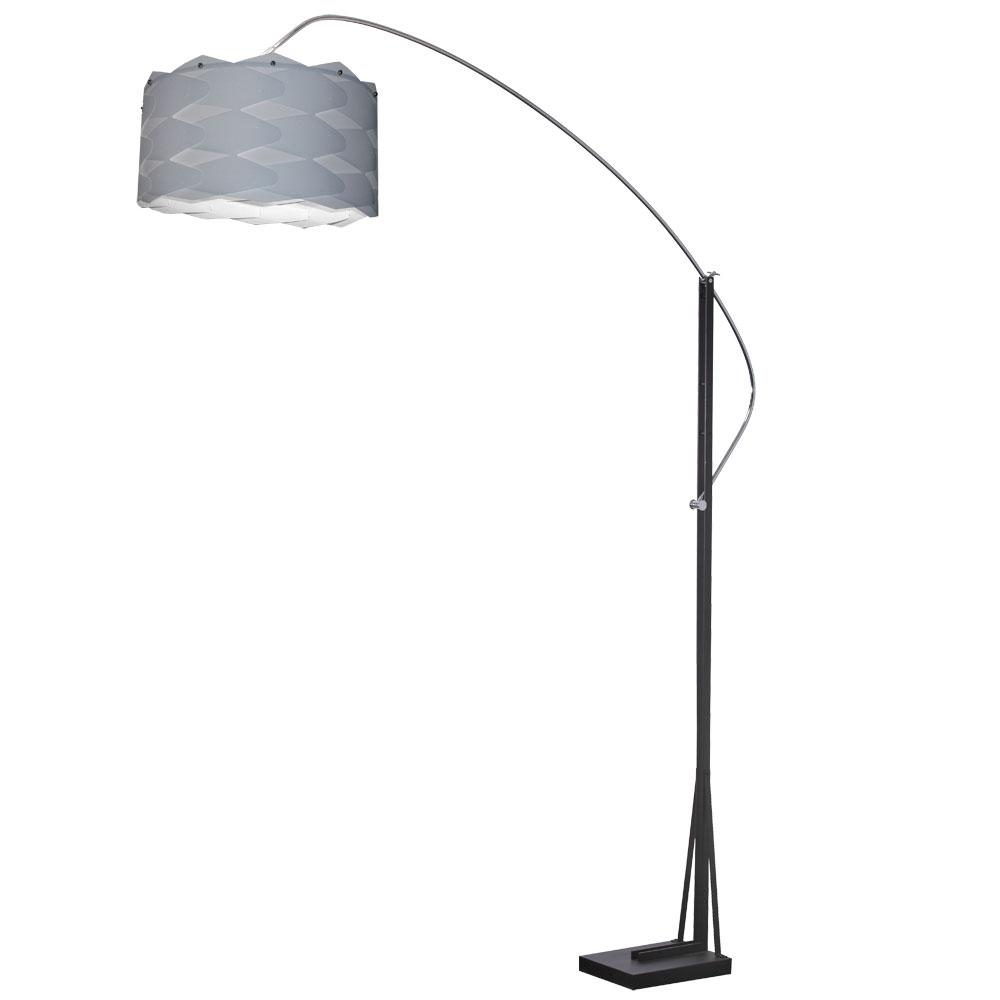 83 in. Polished Chrome Floor Lamp with Silver Shade