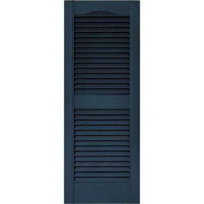 15 in. x 39 in. Louvered Vinyl Exterior Shutters Pair in #036 Classic Blue