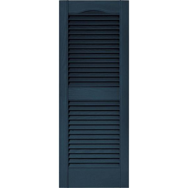 Builders Edge 15 In X 39 In Louvered Vinyl Exterior Shutters Pair In 036 Classic Blue 010140039036 The Home Depot