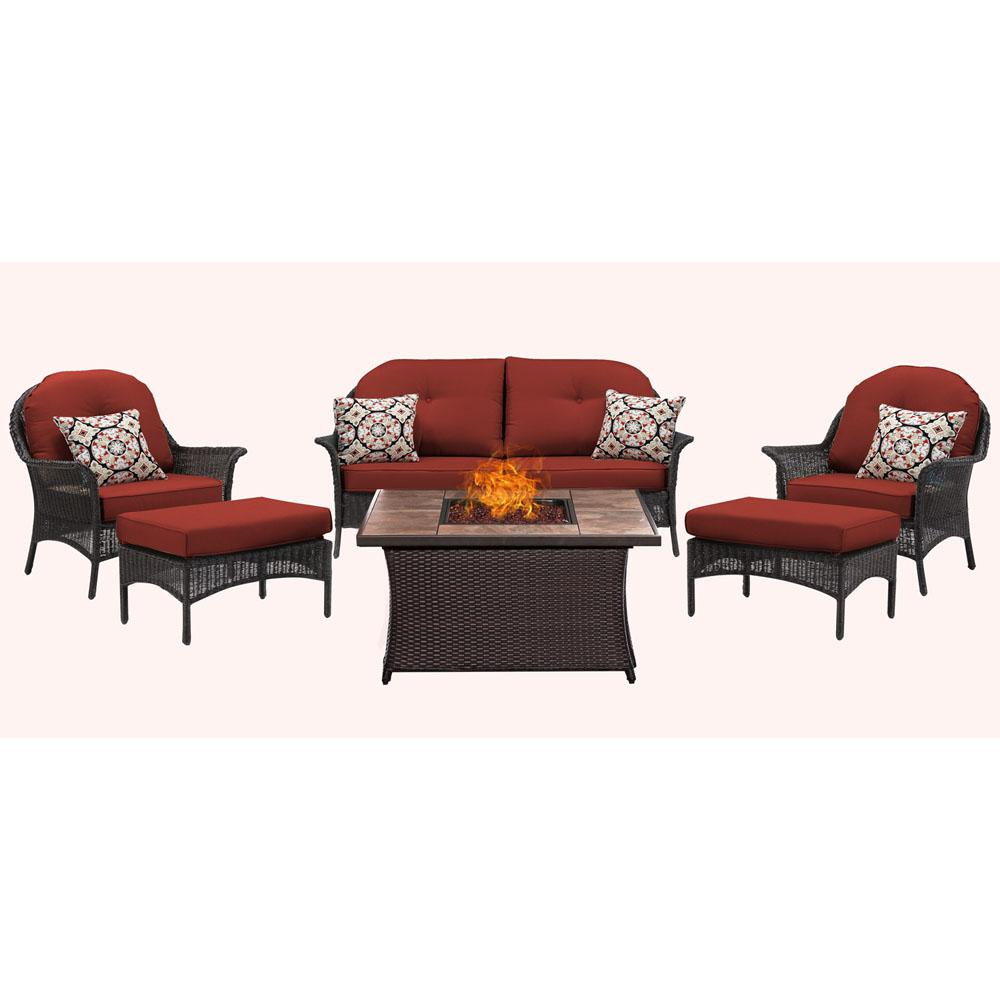 San Marino 6-Piece Metal Patio Seating Set with Tile-Top Fire Pit