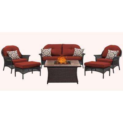 San Marino 6-Piece Woven Patio Seating Set with Tile-Top Fire Pit with Crimson Red Cushions