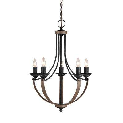 Corbeille 21.5 in. W 5-Light Weathered Gray and Distressed Oak Single Tier Chandelier with LED Bulbs