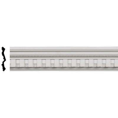 4 in. x 3-7/8 in. x 96 in. Polyurethane Kepler Dentil with Bead Crown Moulding