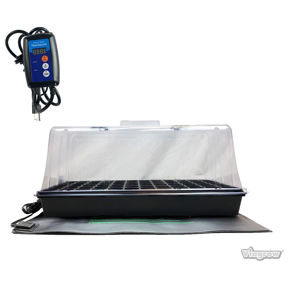 Single Propagation Kit with Heat Mat, Flat Tray, Flat Insert, Tall Dome, Tray Heat Mat with Thermostat