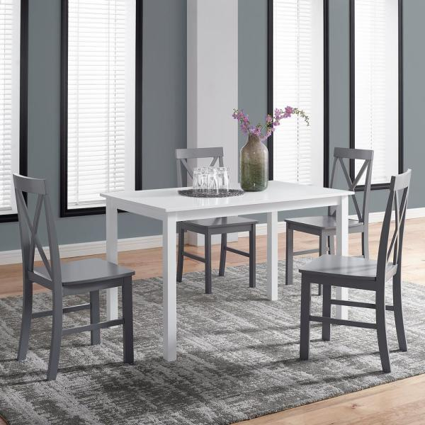 Welwick Designs 5 Piece White And Grey Solid Wood Farmhouse Dining Set Hd8093 The Home Depot