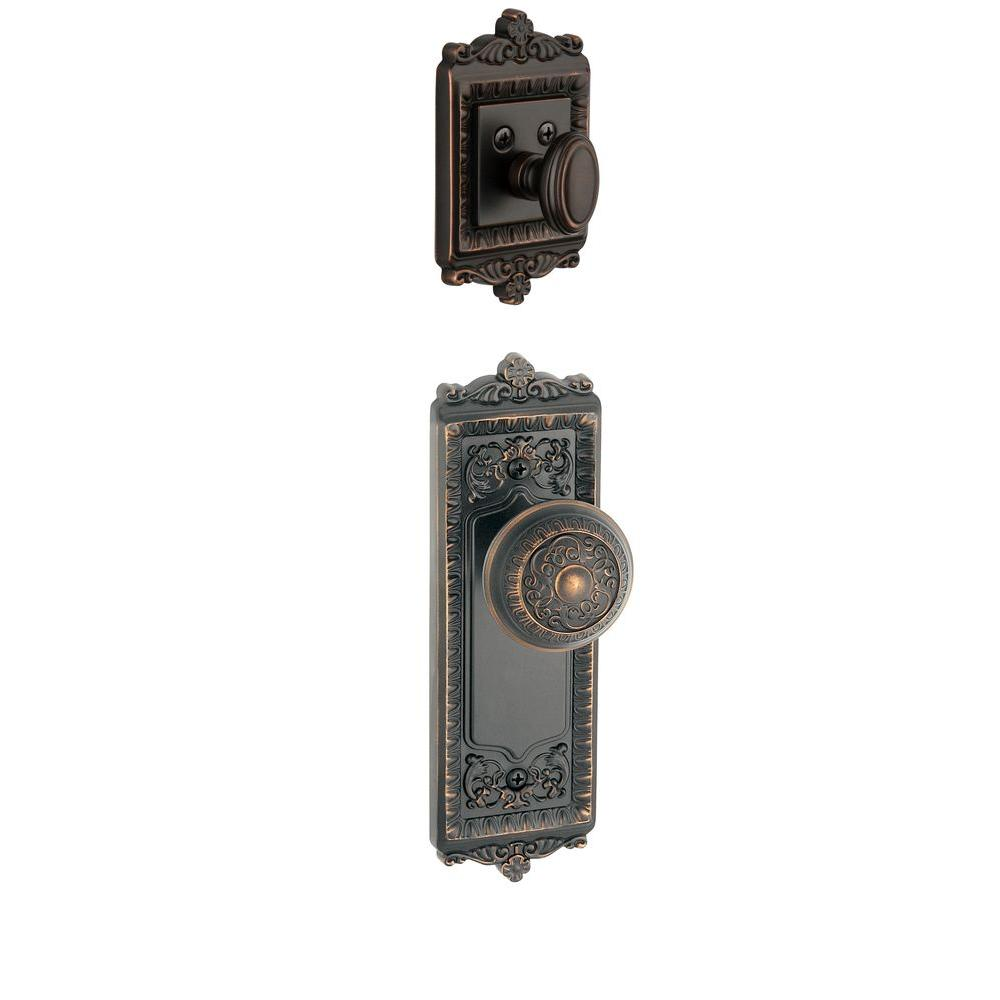 Grandeur Windsor Single Cylinder Timeless Bronze Combo Pack Keyed Differently with Knob and Matching Deadbolt