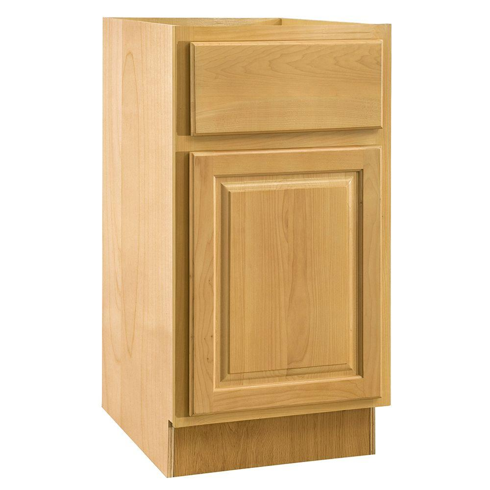Home Decorators Collection Assembled 15x28.5x21 in. Desk Height Base Cabinet with Single Door in Vista Honey Spice