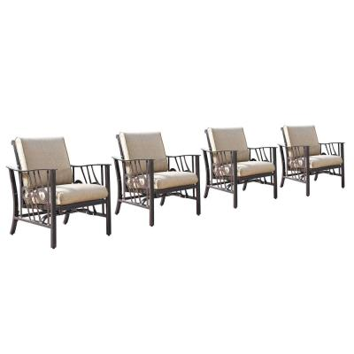 Luxury Bronze Rocking Aluminum Outdoor Lounge Chair with Beige Polyester Cushions (4-Pack)