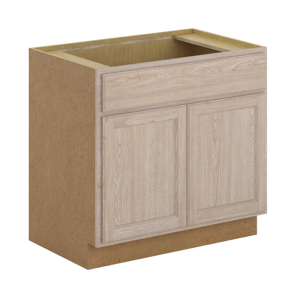Stratford Assembled 36x34.5x24 in. Sink Base Cabinet in Unfinished Oak