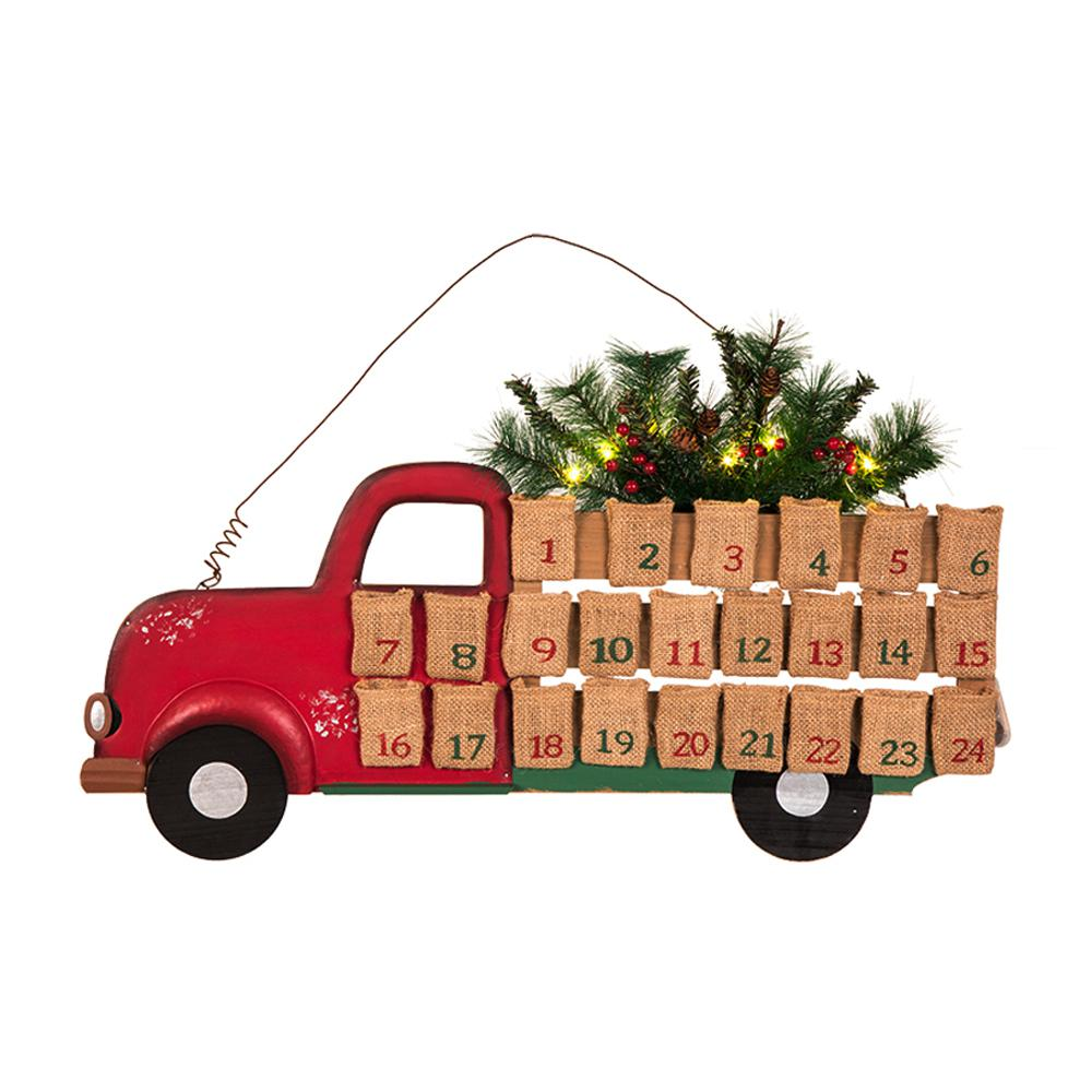 Glitzhome 26 89 In L Iron Wooden Lighted Truck Countdown Wall Decor