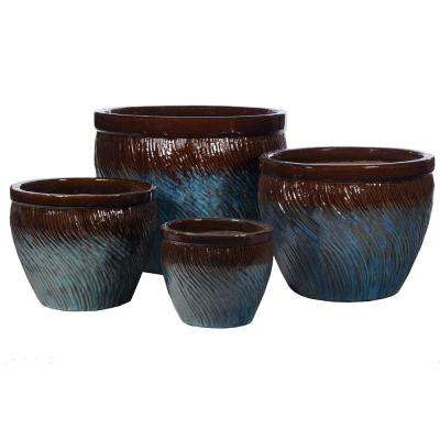 Glazed Ceramic Pots Set Of 4