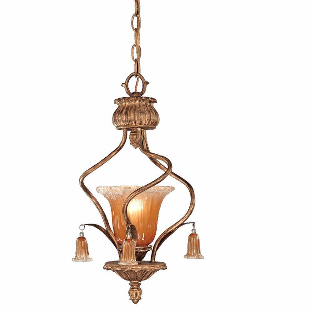 Eurofase Sorrento Collection 1-Light Weathered Gold Hanging Mini Pendant