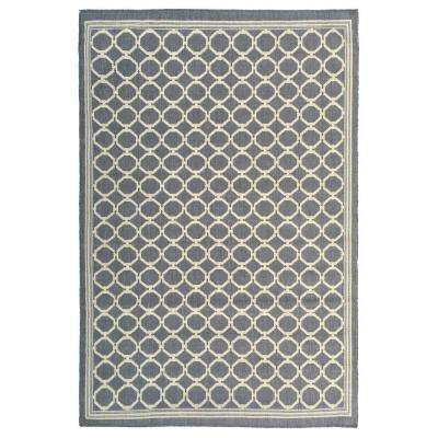 Summer Collection Geometric Trellis Design Natural Mocha 5 ft. x 7 ft. Indoor/Outdoor Area Rug