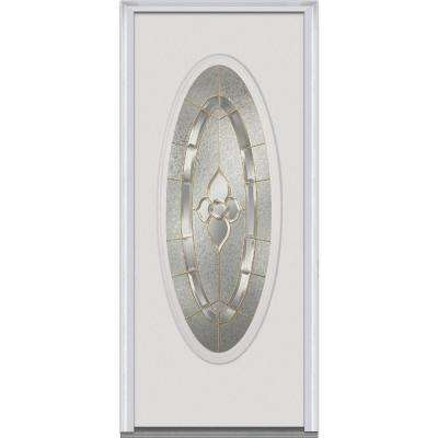 30 in. x 80 in. Master Nouveau Left-Hand Large Oval Lite Classic Primed Steel Prehung Front Door