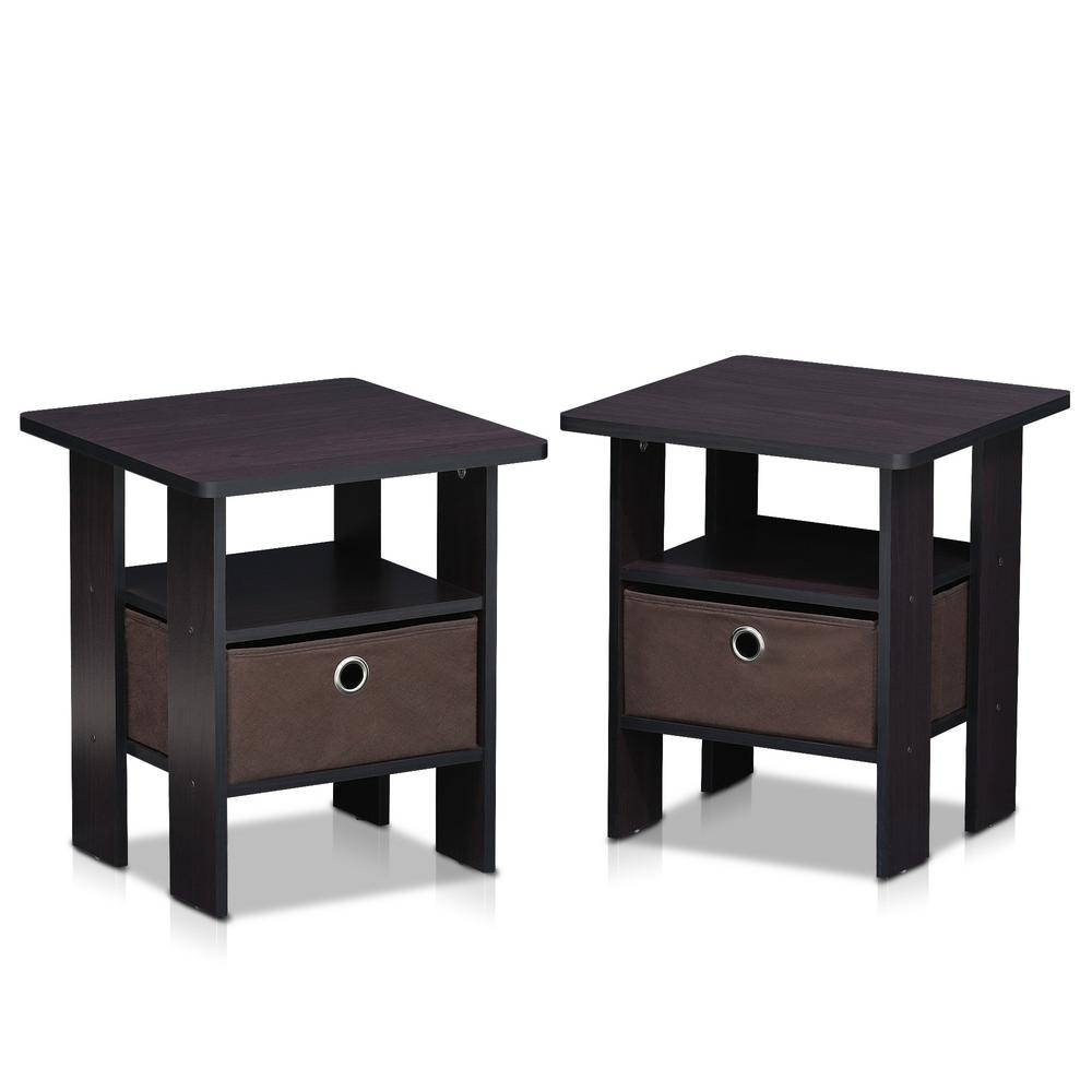 Home Living Dark Walnut Storage End Table Set Of 2