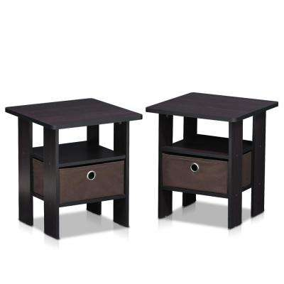 Home Living Dark Walnut Storage End Table (Set of 2)