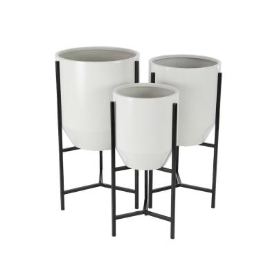 LITTON LANE White and Black Iron Tapered Round Planters with Stands (Set of 3)