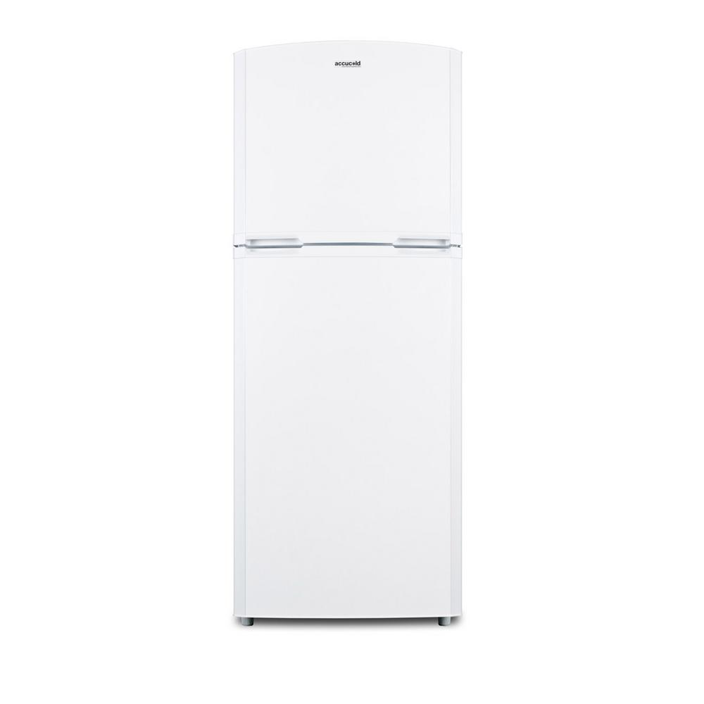Summit Appliance 12.9 cu. ft. Top Freezer Refrigerator in White SUMMIT's frost-free refrigerator-freezers feature slim dimensions for smaller kitchens and superior construction for years of reliable service. The FF1427WIM is a counter depth refrigerator-freezer ideal for use in apartments and other kitchens with space limitations. The white finish and curved doors offer a great look for any space, with nearly 13 cu. ft. inside the unique 26 in. footprint. The frost-free interior includes adjustable glass shelves and door storage in both compartments, as well as an interior light and large crisper drawer in the fresh food section. The freezer includes a factory-installed 8 lb. icemaker. Made in North America, the FF1427WIM brings reliable quality to unique kitchen spaces. This unit has a user-reversible door swing to accommodate any setting. NOTE: Because of this unit's curved door style, the FF1427WIM requires an additional 1-1/2 in. of width to open the doors to a full 90. Download the product brochure to view the line drawings and ensure this unit fits your space.