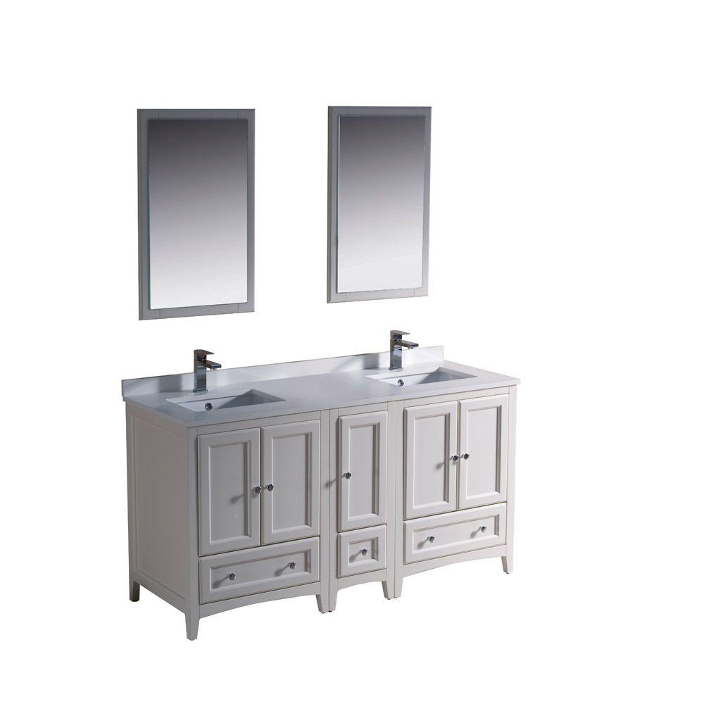 Fresca Oxford 60 in. Double Vanity in Antique White with Ceramic ...