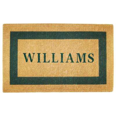 Single Picture Frame Green 22 in. x 36 in. Heavy Duty Coir Personalized Door Mat