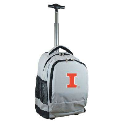 NCAA Illinois 19 in. Gray Wheeled Premium Backpack