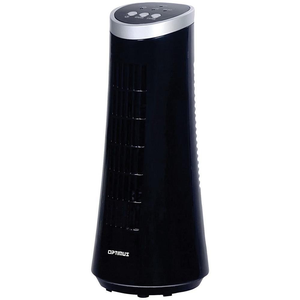 12 in. Desktop Black Ultraslim Oscillating Tower Fan