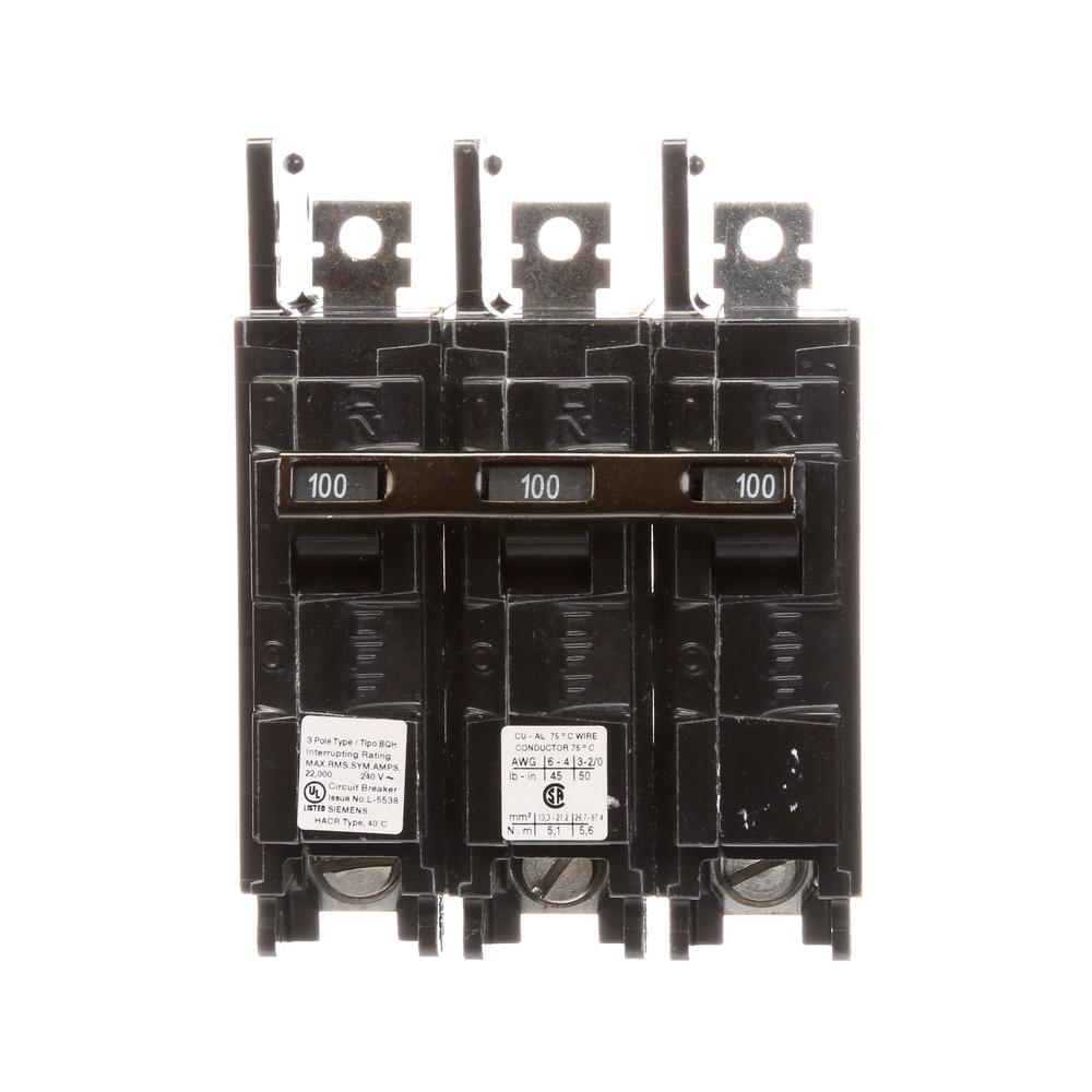 100 Amp 3-Pole BQH 22 kA Lug-In/Lug-Out Circuit Breaker