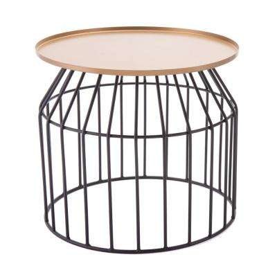 Tray Gold and Black Large End Table