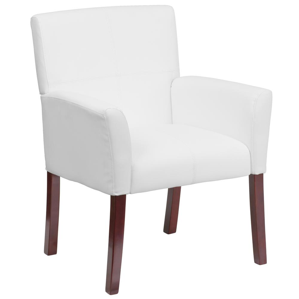 flash furniture white leather executive side chair or reception