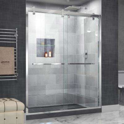 Cavalier 56 in. to 60 in. x 77.375 in. Frameless Bypass Shower Door in Polished Stainless Steel